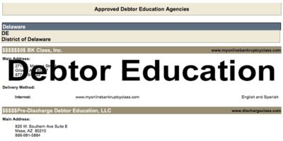 Approved Debtor Education Courses For Delaware Bankruptcy